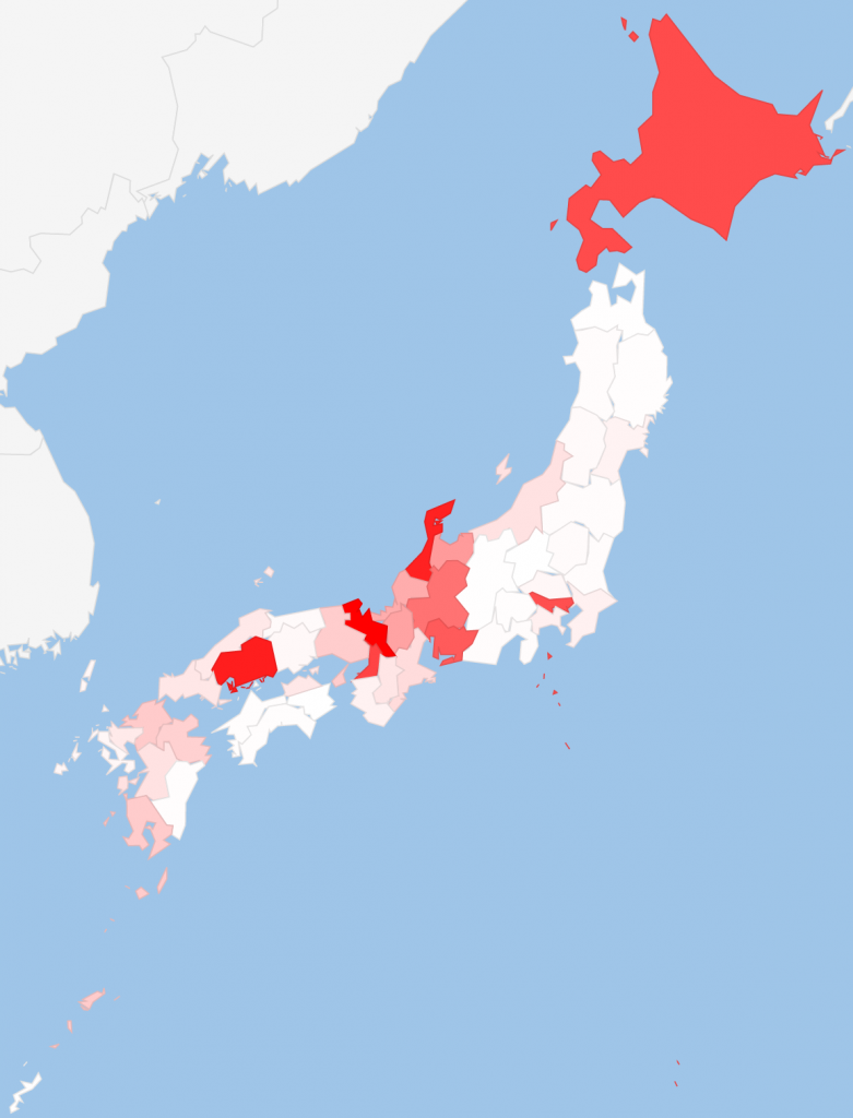 都道府県別法話登録件数